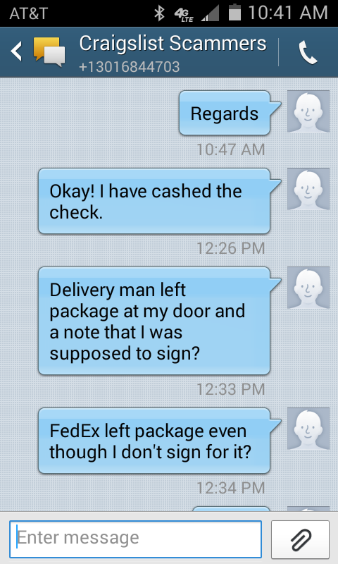 Signs of a craigslist scammer